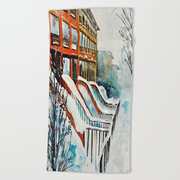 Brooklyn New York In Snow Storm Beach Towel