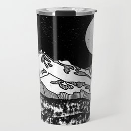Mount Shasta Black and White Travel Mug
