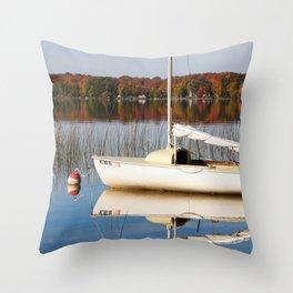 Sailboat on Quiet Lake in Autumn Throw Pillow