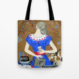 Lady in a blue dress Tote Bag
