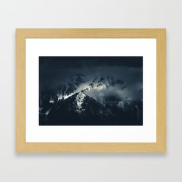 Darkness and clouds over the mountains Framed Art Print