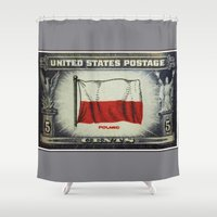 poland Shower Curtains featuring Flag of Poland by lanjee