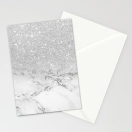 Modern faux grey silver glitter ombre white marble Stationery Cards