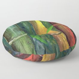 Colorful bamboo painting with gouache Floor Pillow