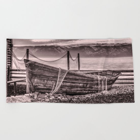 Old rusty boat with net (sepia) Beach Towel