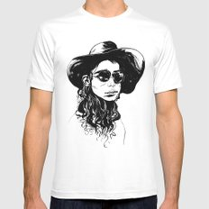 Woman in Hat and Sunglasses White MEDIUM Mens Fitted Tee