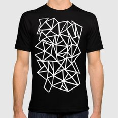 Abstract Outline Thick White on Black LARGE Mens Fitted Tee Black