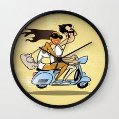 Couple on a Vespa Wall Clock