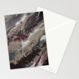 Neutral Black, Red and Brown Painting - Schism Abstract Stationery Cards