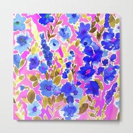 Isla Floral Pink Blue Metal Print
