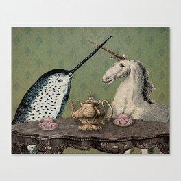 Narwhal & Unicorn Have Tea Canvas Print