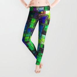 geometric square shape pattern abstract background in green blue yellow Leggings