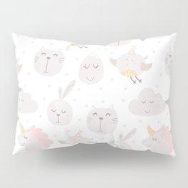Pastel pink gray cute magical funny unicorn animals Pillow Sham
