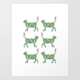 Cat Walking Silhouette - Green Vintage Damask Pattern Art Print