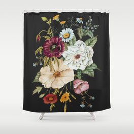 Colorful Wildflower Bouquet on Charcoal Black Shower Curtain