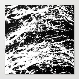 Black and White Paint Splatter Canvas Print