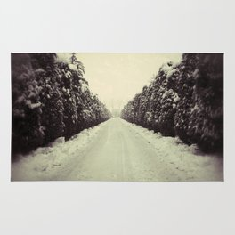 Avenue during a snowing. Rug
