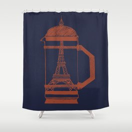 French Press... (Navy) Shower Curtain