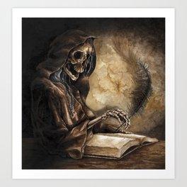 Skeleton Scribe Art Print