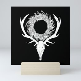 Scottish Red Deer Skull with Heather and Thistle Wreath (white) Mini Art Print