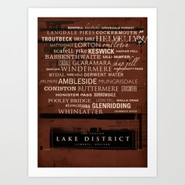 English Lake District Typographic Print (Red) Art Print