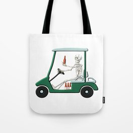 Old Timer Skeleton In Golf Cart Discovers Light Beer graphic Tote Bag