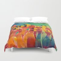 flamingos Duvet Covers featuring Flamingos by takmaj