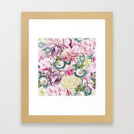 Vintage & Shabby chic -  Retro Spring Flower Pattern Framed Art Print