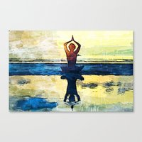 yoga Canvas Prints featuring yoga by Chantale Roger