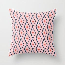 Pink Navy Diamond pattern Throw Pillow