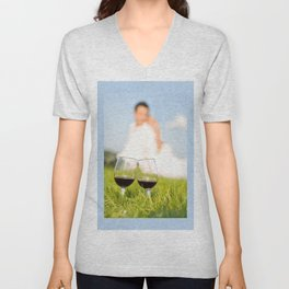 Two wineglasses with red wine in grass Unisex V-Neck