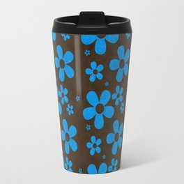 Blue Flowers on Brown Background Travel Mug