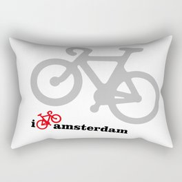 I Love Amsterdam - Red Bike Rectangular Pillow
