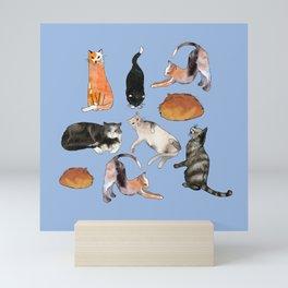 cats cats cats on light blue Mini Art Print