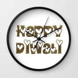 Happy Diwali Festival of Lights Typography Wall Clock
