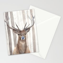 "Watercolor Painting of Picture ""Deer in Winter Forest"" Stationery Cards"
