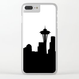 seattle cityscape silhouete Clear iPhone Case
