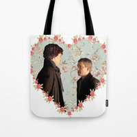 johnlock Tote Bags featuring Hearted Johnlock by thescudders