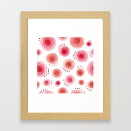 abstract watercolor red and pink planets Framed Art Print