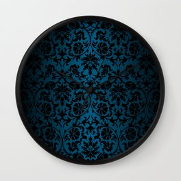 Teal and Black Floral Damask Wall Clock