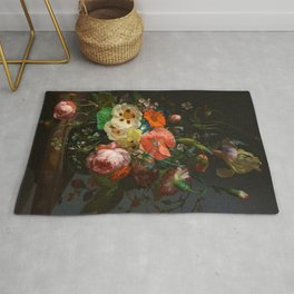 """Rachel Ruysch """"Still Life with Flowers on a Marble Tabletop"""" Rug"""