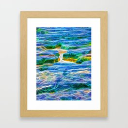 Abstract rock pool in the rough rocks in Queensland Framed Art Print