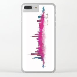 New York NYC City Skyline v05 Pink Violet Clear iPhone Case