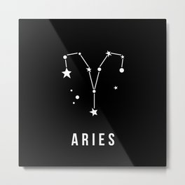 Aries Zodiac Sign Quote Metal Print