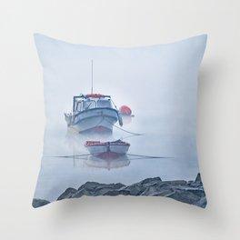 Foggy Scene Puyuhuapi Lake, Patagonia, Chile Throw Pillow