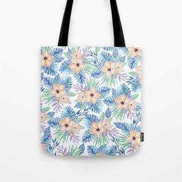 Tropical coral lilac lavender blue watercolor floral Tote Bag