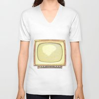 tv V-neck T-shirts featuring Television* by Mr and Mrs Quirynen