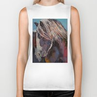 pony Biker Tanks featuring Highland Pony by Michael Creese