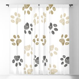 Doodle grey and gold paw print seamless fabric design repeated pattern background Blackout Curtain