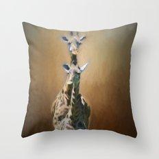 Mom and baby Giraffe Throw Pillow